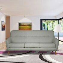 Canapé 2,5 places en tissu gris clair - MALOUNE