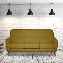 Canapé 2,5 places en tissu moutarde - MALOUNE