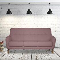 Canapé 2,5 places en tissu rose pâle - MALOUNE
