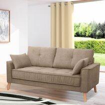 Canapé 2,5 places fixe en tissu beige - EDEA