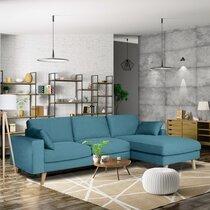 Canapé d'angle à droite en tissu bleu azur - ALTA