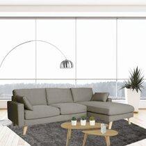 Canapé d'angle à droite en tissu gris clair - ALTA