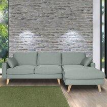 Canapé d'angle à droite en tissu vert grisé - ALTA