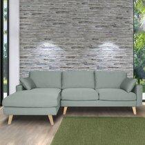 Canapé d'angle à gauche en tissu vers grisé - ALTA
