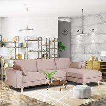 Canapé d'angle à droite en tissu rose clair - ALTA