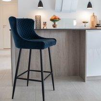 Chaise de bar 56x48x105 cm en velours bleu foncé - GOSNAY