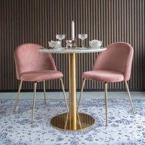 Lot de 2 chaises repas en velours rose et laiton - AHMAS