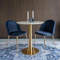 Lot de 2 chaises repas en velours bleu foncé et laiton - AHMAS