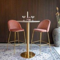 Lot de 2 chaises de bar en velours rose et laiton - AHMAS