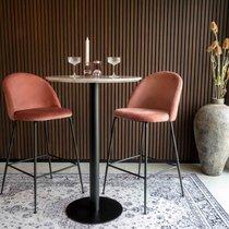 Lot de 2 chaises de bar en velours rose  et pieds noirs - AHMAS
