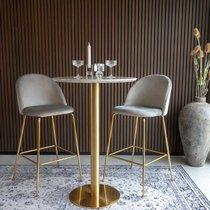 Lot de 2 chaises de bar en velours gris et laiton - AHMAS