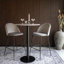 Lot de 2 chaises de bar en velours gris et pieds noirs - AHMAS