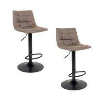 Lot de 2 chaises de bar en tissu marron clair - KOBLENZ