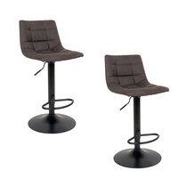 Lot de 2 chaises de bar en tissu gris foncé - KOBLENZ