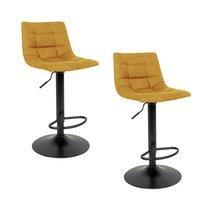 Lot de 2 chaises de bar en tissu moutarde - KOBLENZ