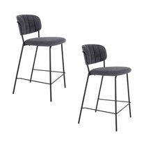 Lot de 2 chaises de bar 54,5x45x90 cm en tissu gris foncé