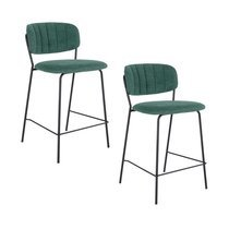 Lot de 2 chaises de bar 54,5x45x90 cm en tissu vert