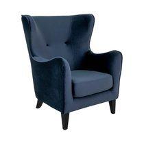 Fauteuil 87x87x103 cm en velours bleu foncé - SASKIA