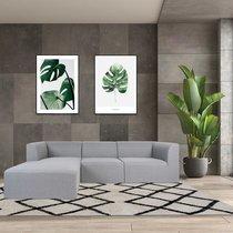 Canapé d'angle à gauche 3 places en tissu gris - SUBITO