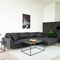 Canapé d'angle à droite 290x92/170x76 cm en tissu gris foncé  - VANEA