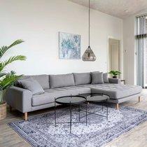 Canapé d'angle à droite 290x92/170x76 cm en tissu gris clair  - VANEA