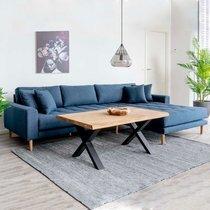 Canapé d'angle à droite 290x92/170x76 cm en tissu bleu foncé - VANEA