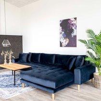 Canapé d'angle à droite 290x92/170x76 cm en velours bleu foncé - VANEA