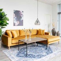 Canapé d'angle à droite 290x92/170x76 cm en velours moutarde - VANEA