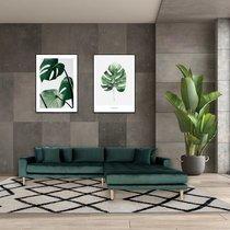 Canapé d'angle à droite 290x92/170x76 cm en velours vert foncé - VANEA