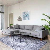 Canapé d'angle à gauche 290x92/170x76 cm en tissu gris clair - VANEA