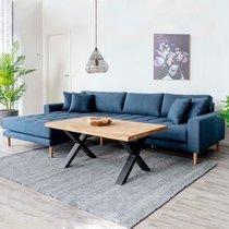 Canapé d'angle à gauche 290x92/170x76 cm en tissu bleu foncé - VANEA