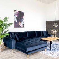 Canapé d'angle à gauche 290x92/170x76 cm en velours bleu foncé - VANEA
