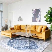 Canapé d'angle à gauche 290x92/170x76 cm en velours moutarde - VANEA