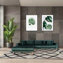 Canapé d'angle à gauche 290x92/170x76 cm en velours vert foncé - VANEA