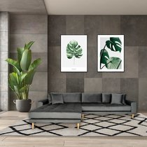 Canapé d'angle à gauche 290x92/170x76 cm en velours gris - VANEA