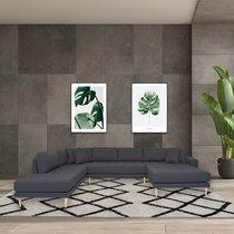 Canapé panoramique en tissu gris foncé - VANEA