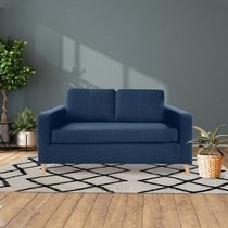 Canapé 2 places en tissu polyester bleu marine - SKAMBY