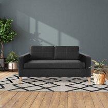 Canapé 2 places en tissu polyester gris foncé - SKAMBY
