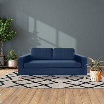 Canapé 3 places en tissu polyester bleu marine - SKAMBY