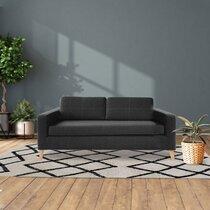Canapé 3 places en tissu polyester gris foncé - SKAMBY