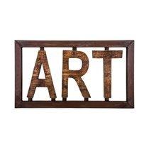 Décoration murale industrielle ART 70x39,5 cm en fer et manguier marron