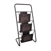Porte-revues industriel 35x30x74 cm en fer noir vieilli