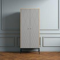 Armoire 2 portes 80x55x190 cm décor gris et naturel