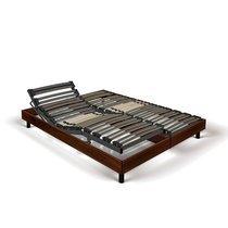 Sommier de relaxation 2x90x200 cm décor bois marron - ILEZ