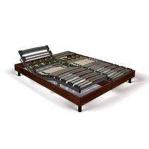 Sommier de relaxation 2x90x200 cm décor bois marron - KOPU