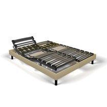 Sommier de relaxation 2x90x200 cm tissu sable - KOPU