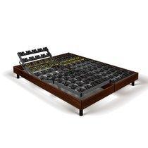 Sommier relaxation soutien plots 2x80x200 cm décor bois marron - SPAY