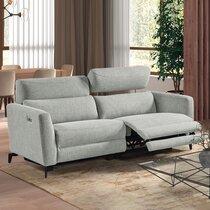 Canapé de relaxation électrique 3 places en tissu gris clair