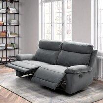 Canapé de relaxation électrique 3 places en tissu gris