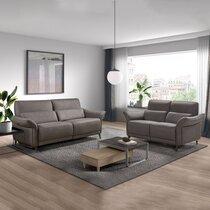 Ensemble canapé 3 places de relaxation et 2 places fixes gris foncé